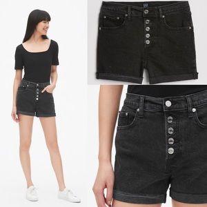 Gap High Waisted Black Denim Button Fly Shorts 18